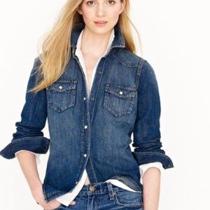 J. Crew Denim Snap Front Western Inspired Shirt